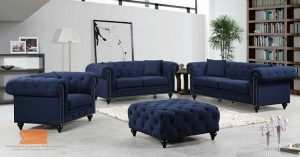 set kursi sofa warna biru 3 2 1