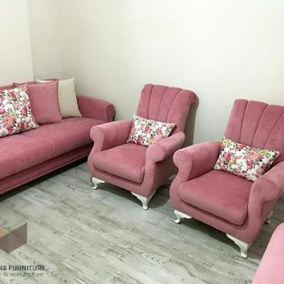 set sofa pink shabby