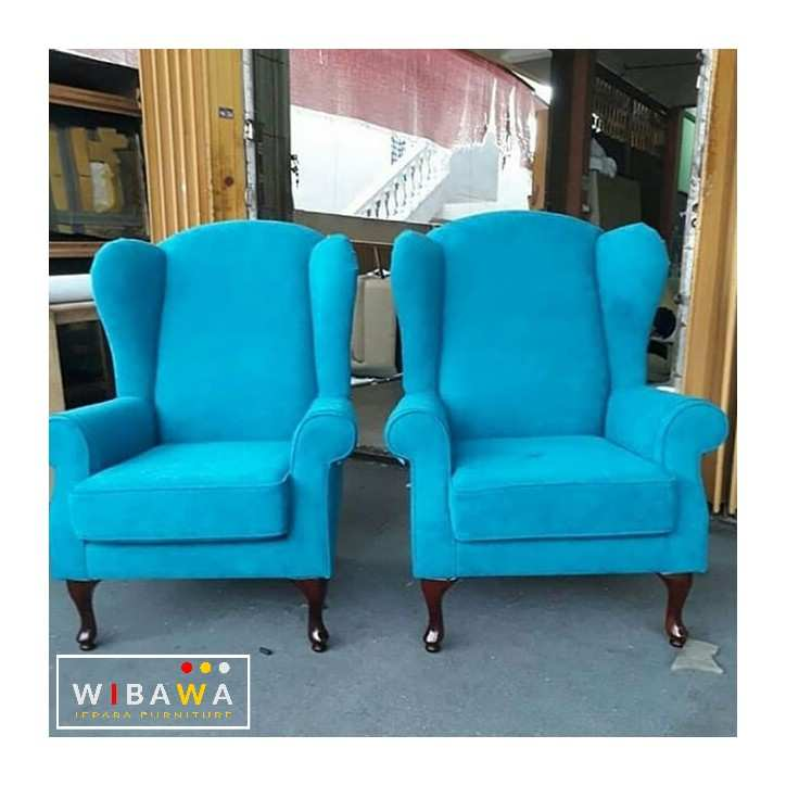 Kursi Sofa Single Chair Wing Biru