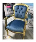Kursi Sofa Queen Biru Gold