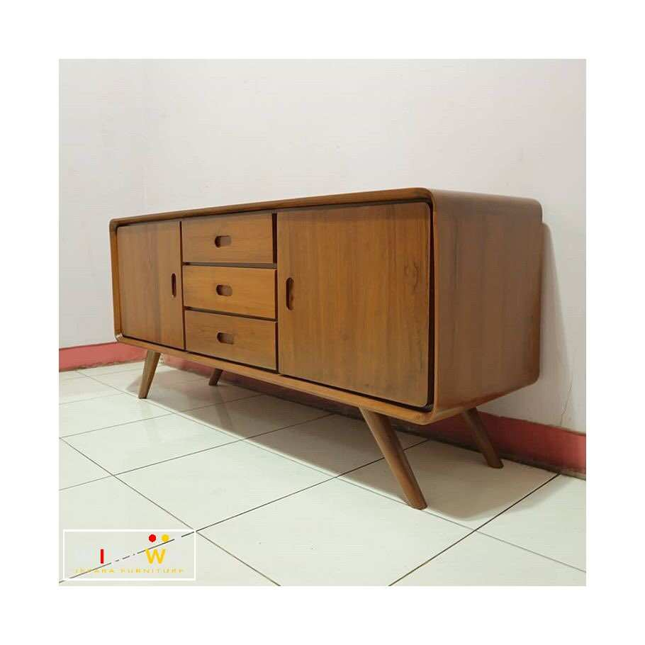 Nakas Drawer 3 Laci 2 Pintu Jati Scandivian Retro