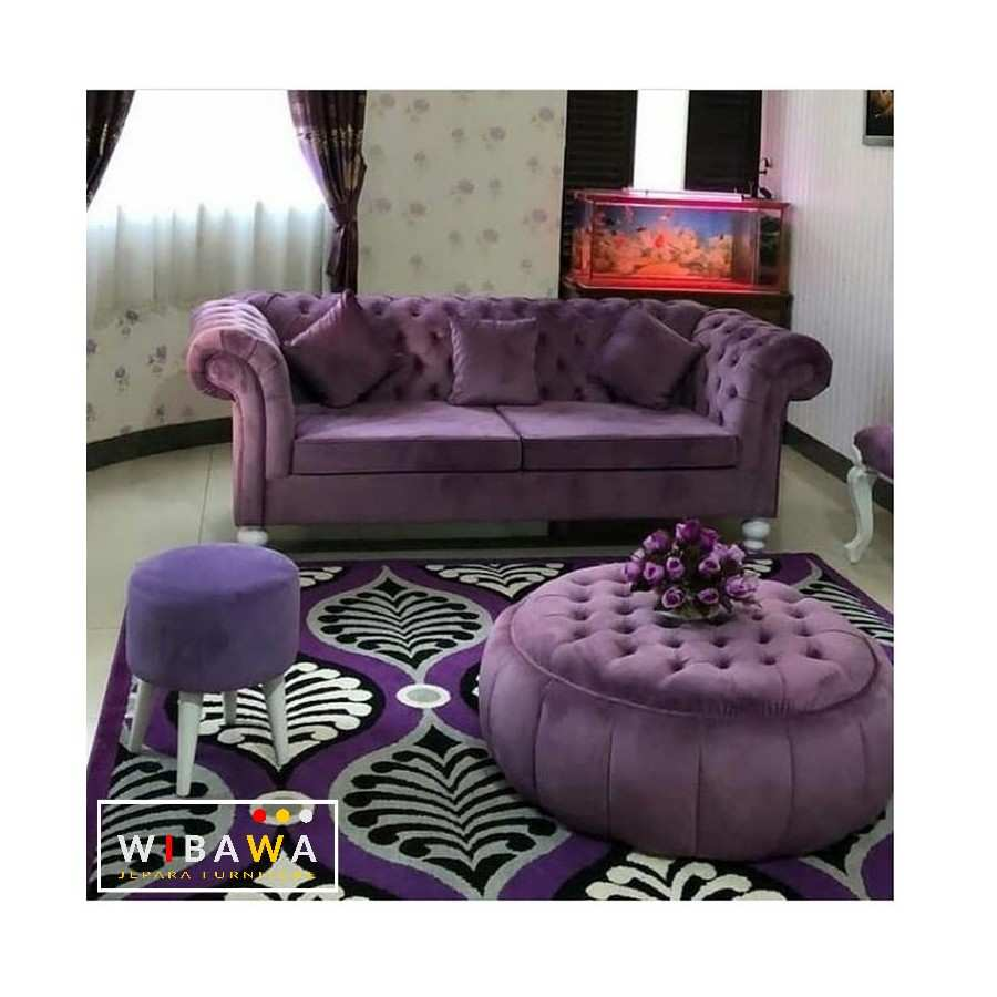 Paket Hemat Sofa Chesterfield Warna Ungu Jepara Furniture