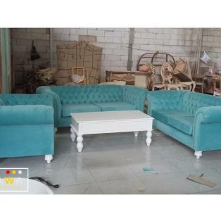 Set Kursi Sofa Tamu Chestrfield 3-2-1 Blue Soft