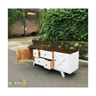 Buffet Tv Meja TV Nakas Drawer Serbaguna Model Retro