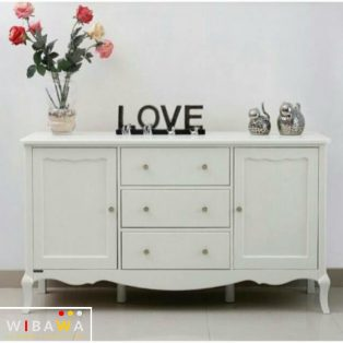 Nakas Drawer Buffet Love Shabby Chic Duco Putih