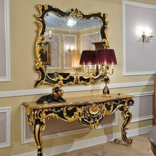 Meja Foyer Mewah Console Table Black Gold