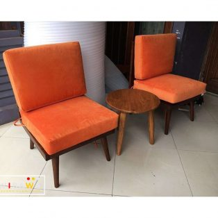 Set Kursi Teras Cafe Kayu Jati Natural Warna Orange