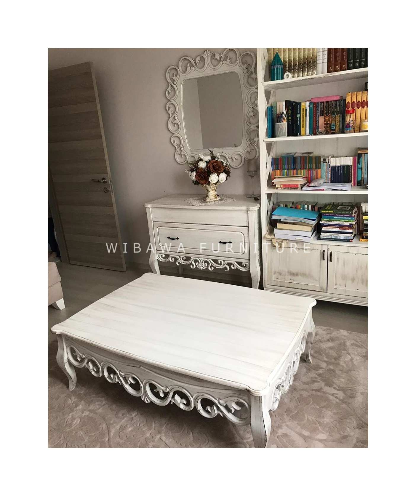 Model Meja Tamu Ala Shabby Chic Vintage Putih Furniture Jepara