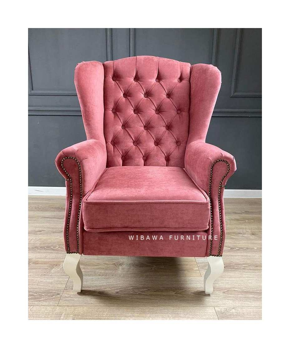 detail Sofa Shabby Chic Pink Wing Chair Jepara