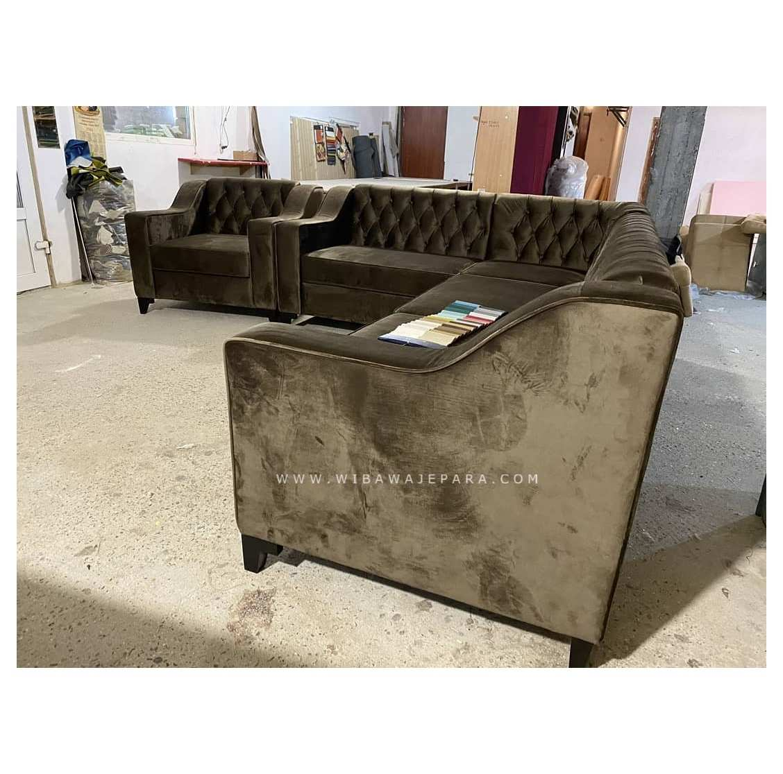 Sofa Tamu Chesterfield Sectional Leather L